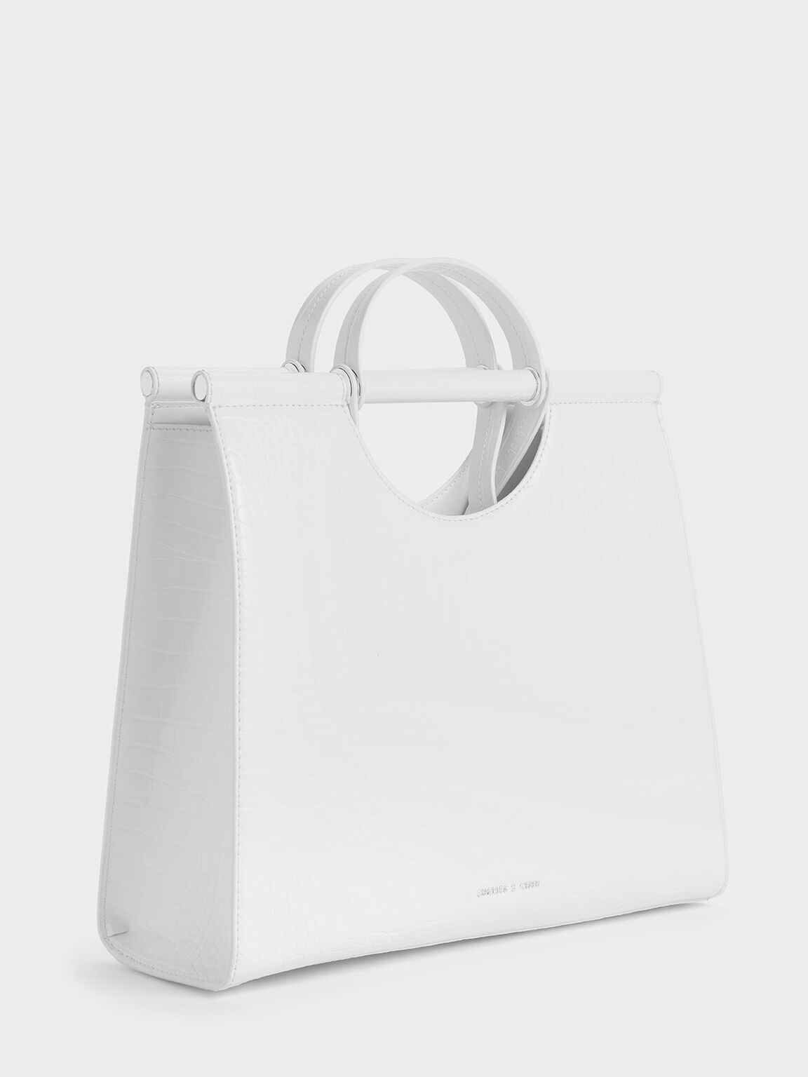 Croc-Effect Double Top Handle Structured Tote, White, hi-res