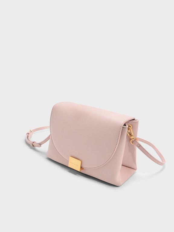 Front Flap Push-lock Crossbody Bag, Blush, hi-res