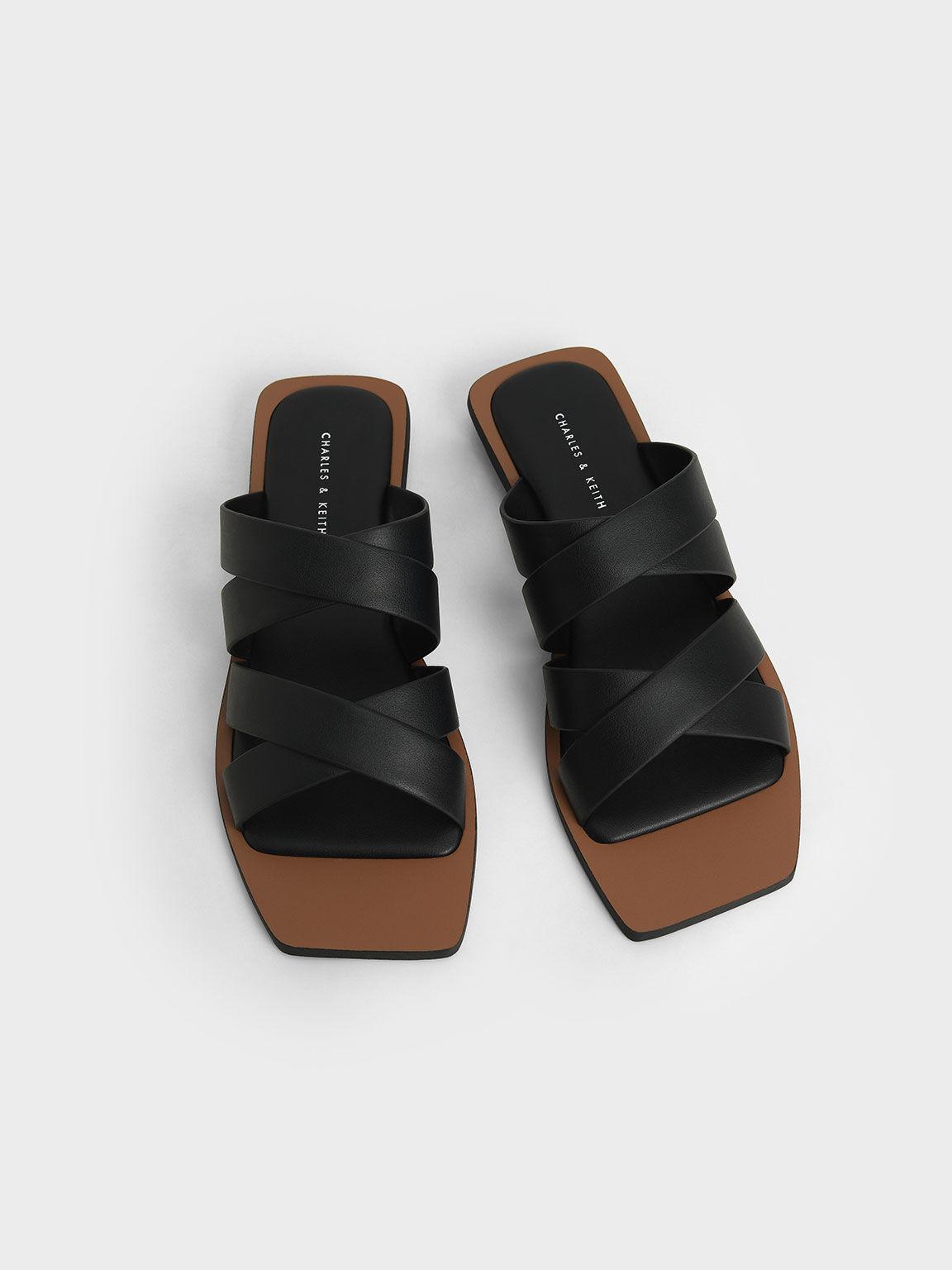 交叉寬帶拖鞋, 黑色, hi-res