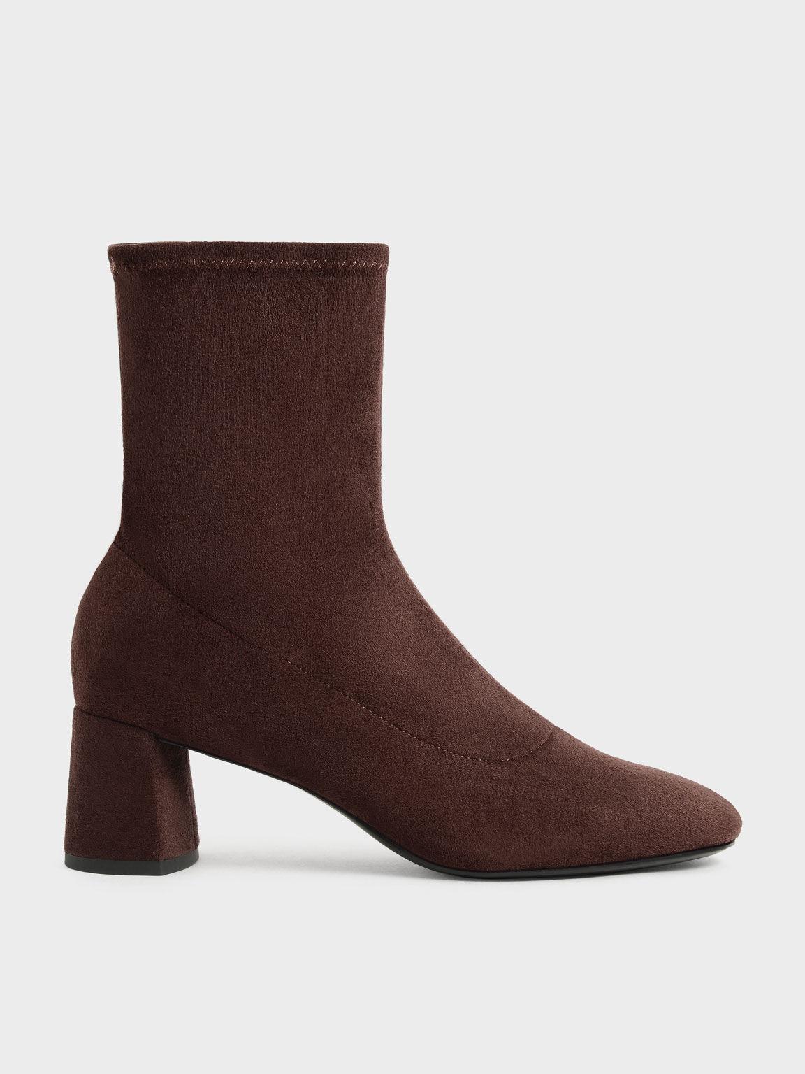 Textured Stitch-Trim Ankle Boots, Dark Brown, hi-res