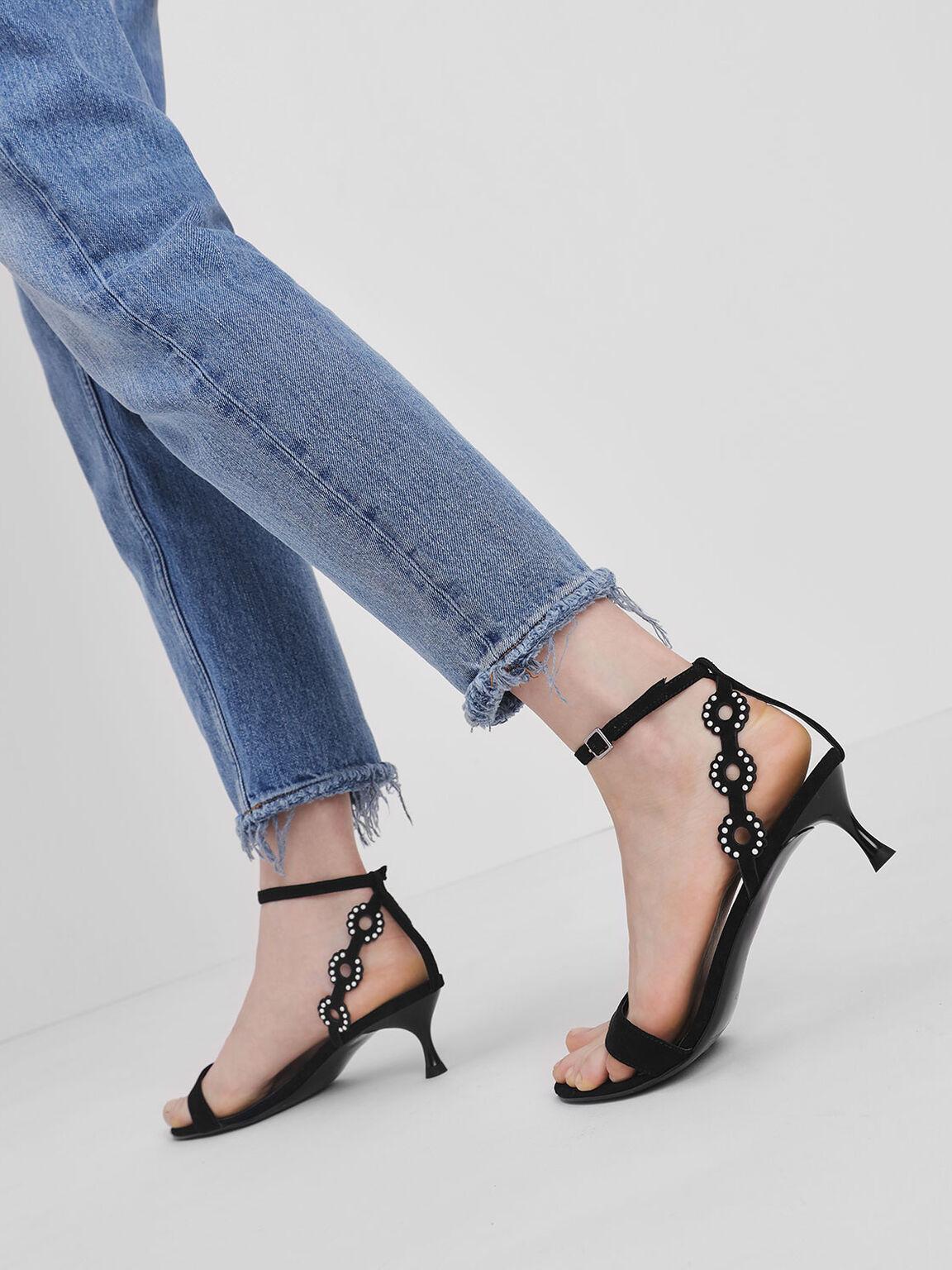 Cut-Out Embellished Kitten Heels, Black, hi-res