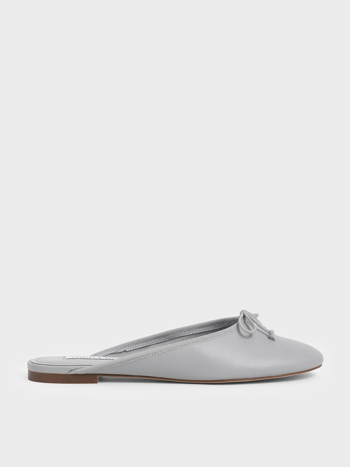 Bow Flat Mules, Grey, hi-res