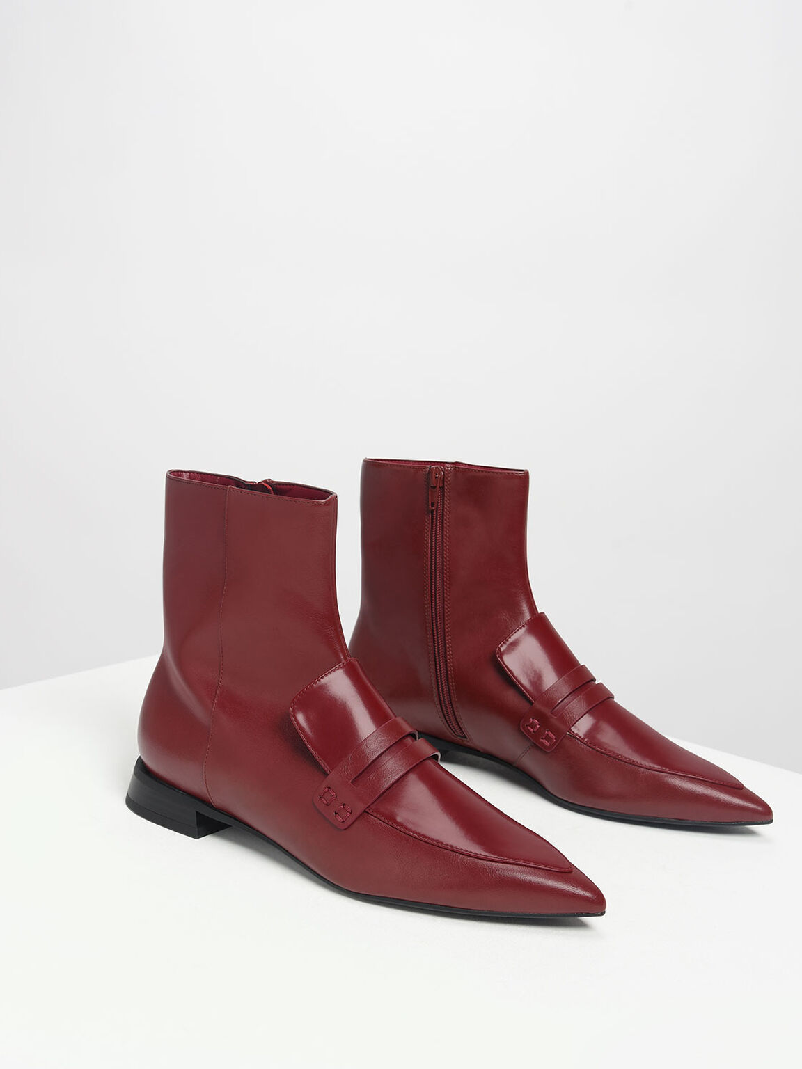 Pointed Ankle Boots, Burgundy, hi-res