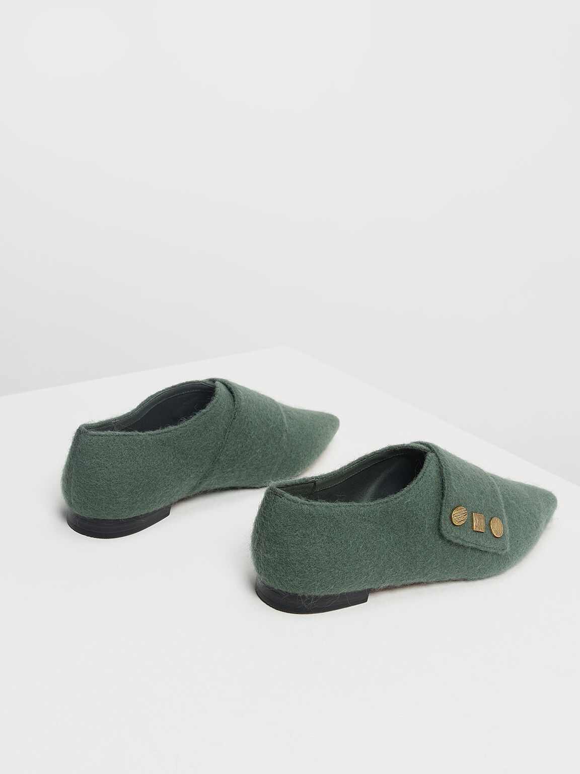 Vintage Button Detail Pointed Flats, Green, hi-res