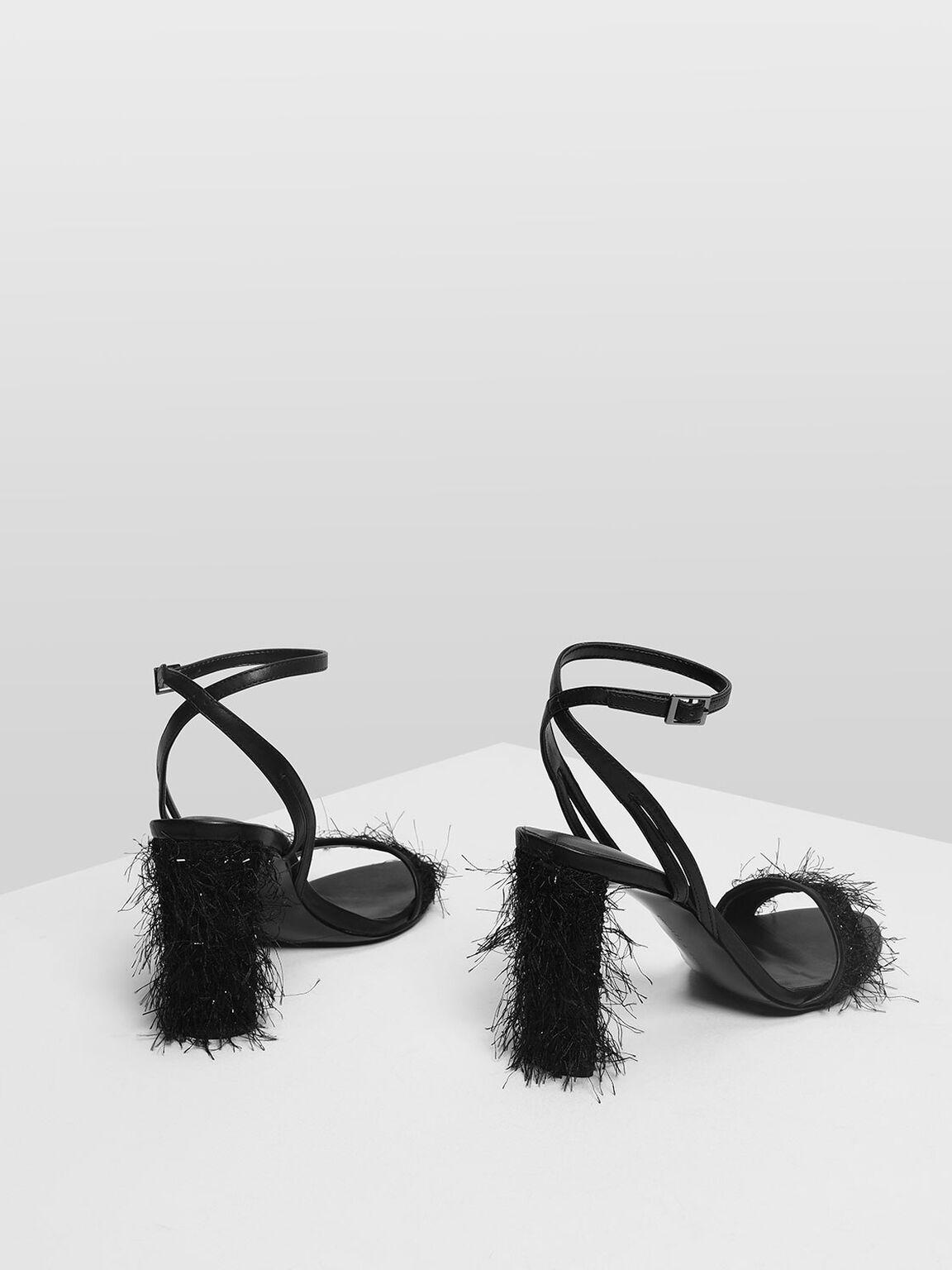 Glitter Fringe Ankle Strap Heeled Sandals, Black, hi-res