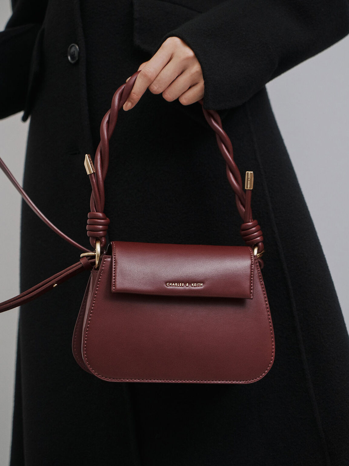 Twist Top Handle Bag, Burgundy, hi-res