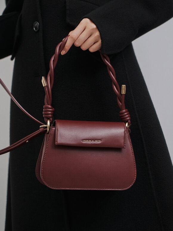 Twist Top Handle Bag, Burgundy, hi-res