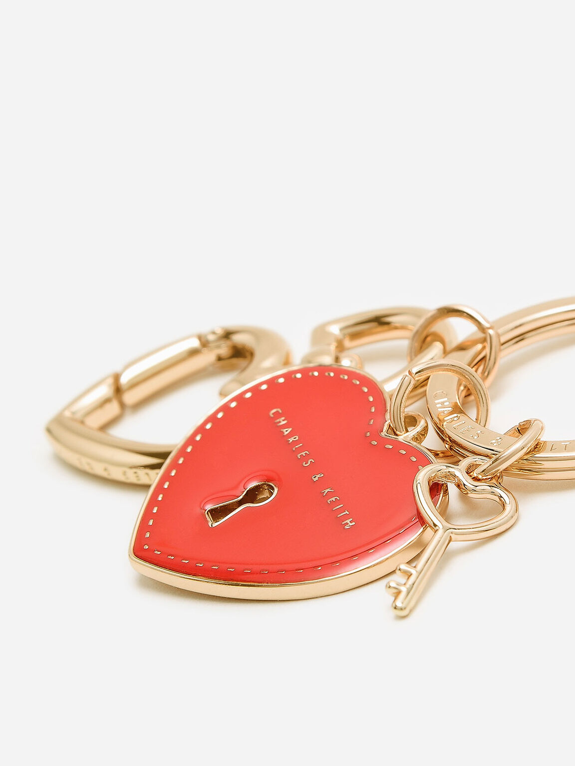 Heart Lock Keychain, Red, hi-res
