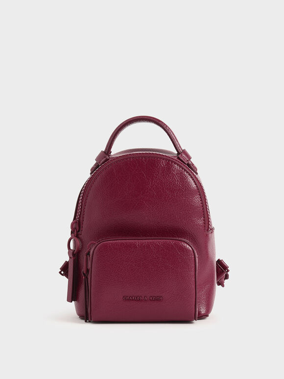 Mini Double Zip Backpack, Berry, hi-res