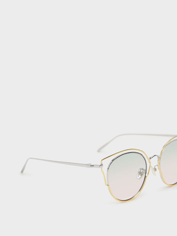 Double Frame Wingtip Sunglasses, Silver, hi-res