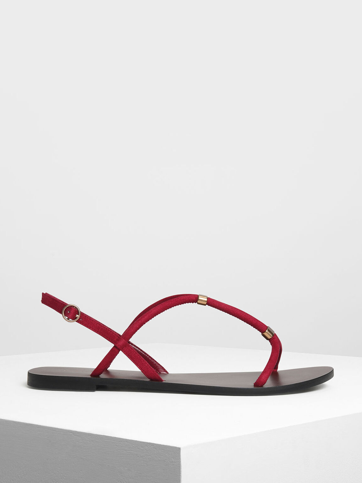 Gold Accented T-Bar Sandals, Red, hi-res