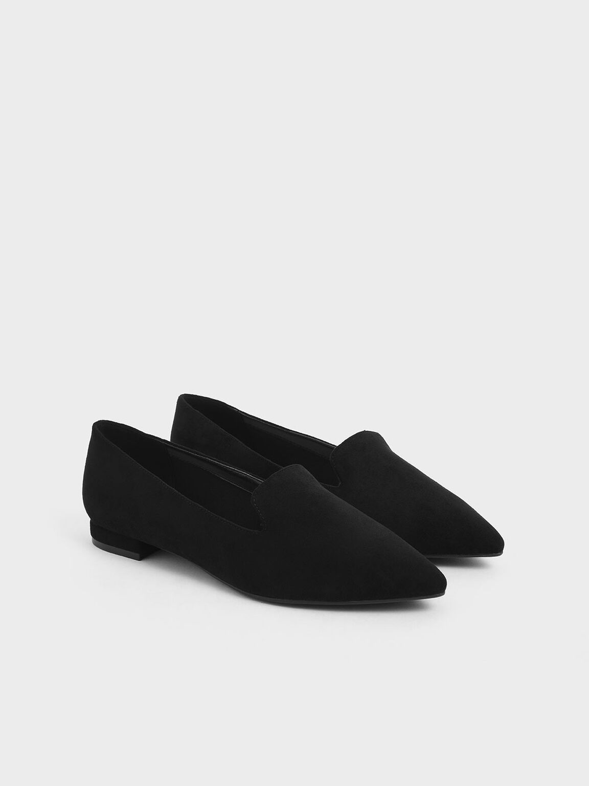 Textured Pointed Toe Loafer Flats, Black, hi-res
