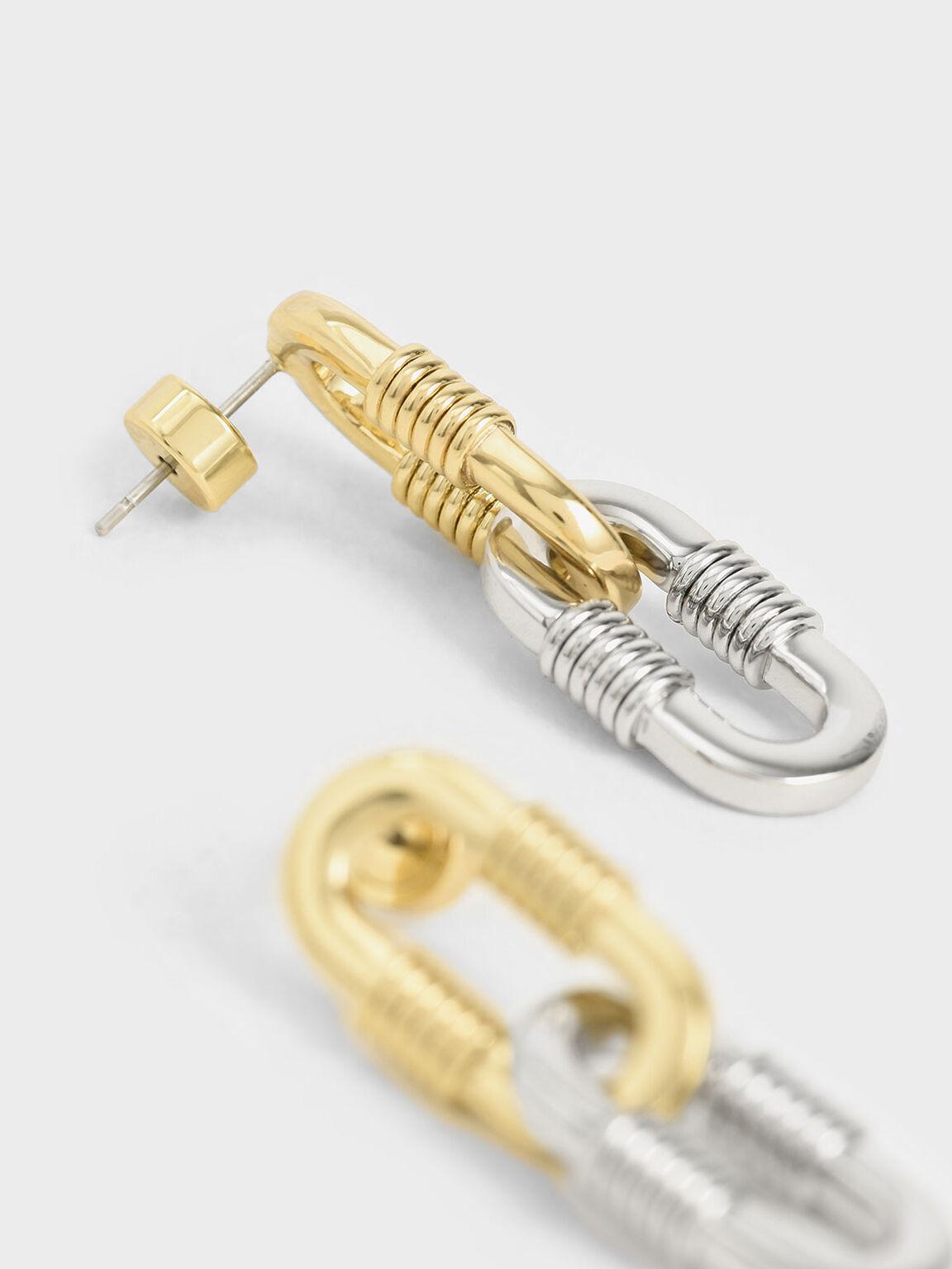 Ribbed Chain Link Drop Earrings, Multi, hi-res