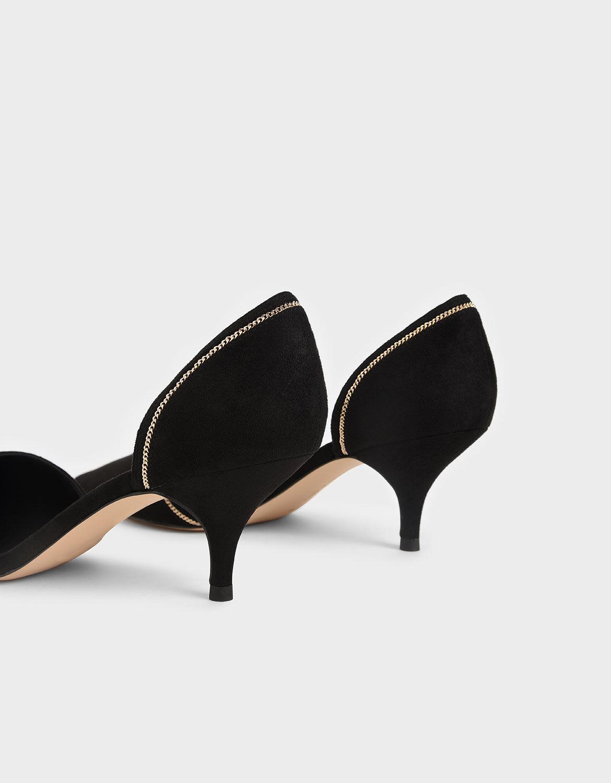 Black Embellished D'Orsay Pumps