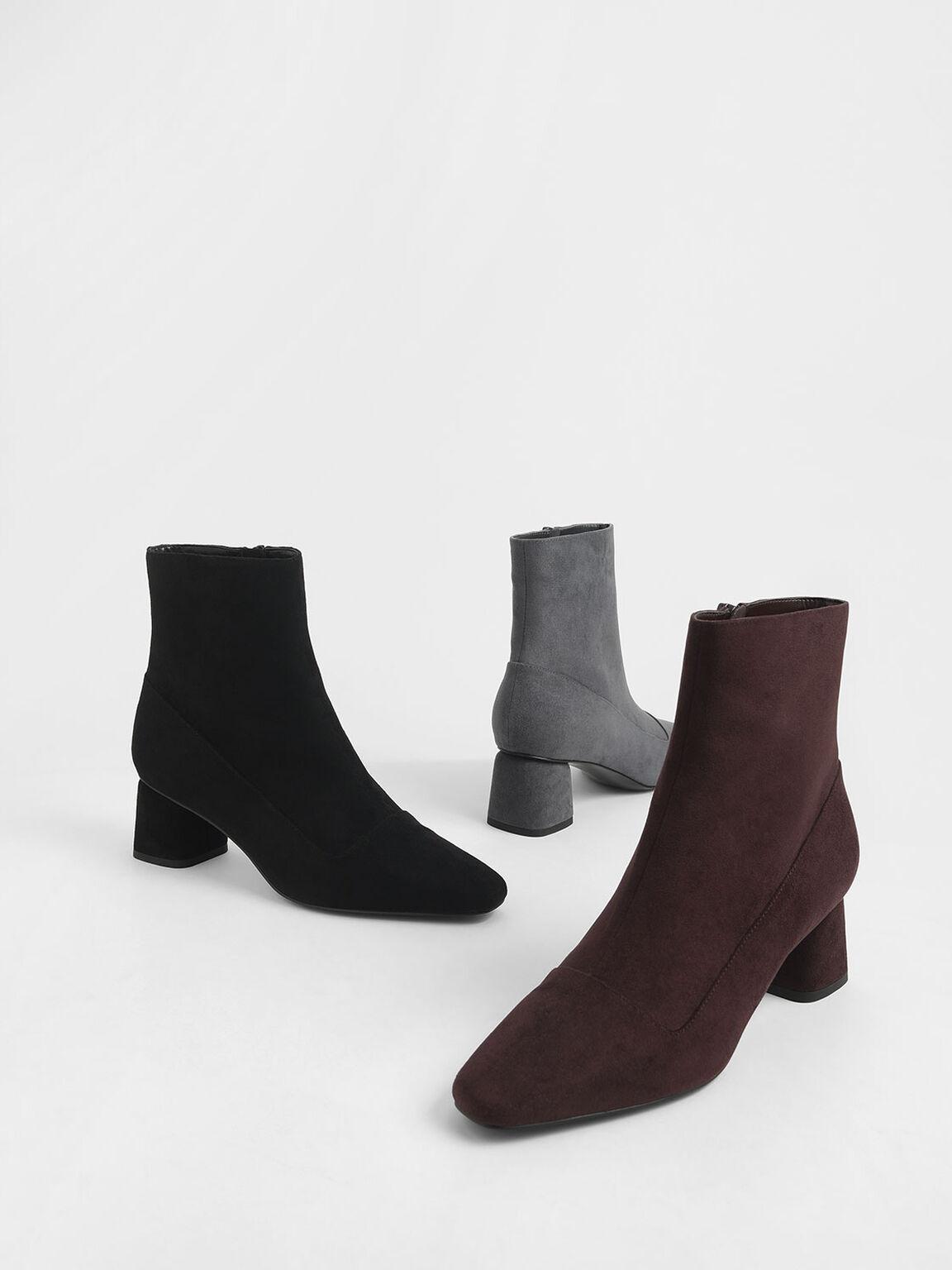 Textured Zip-Up Ankle Boots, Black, hi-res