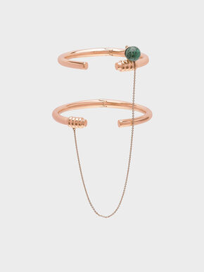 Turquoise Stone Chain Link Bracelet, Rose Gold