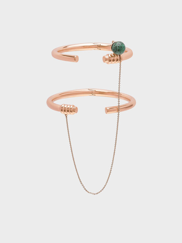 Turquoise Stone Chain Link Bracelet, Rose Gold, hi-res