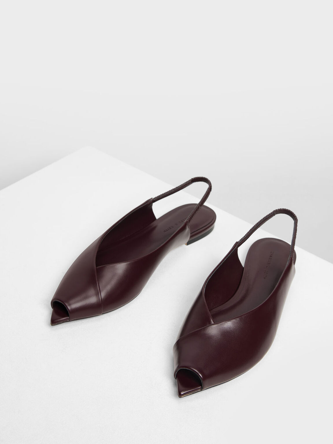 Pointed Peep Toe Slingback Flats, Burgundy, hi-res