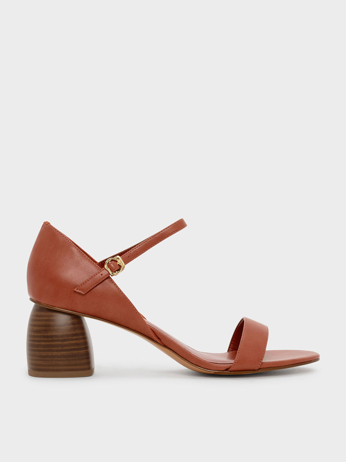 Stacked Heel Sandals, Orange, hi-res