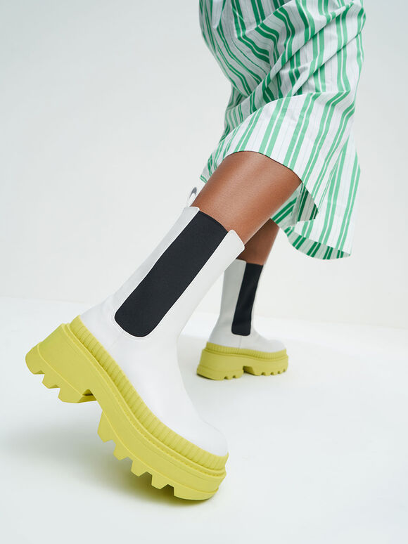 Rhys Coloured Sole Chelsea Boots, Lime, hi-res