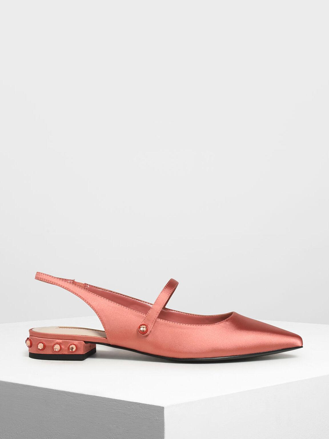 Bejeweled Heel Slingback Flats, Coral Pink, hi-res