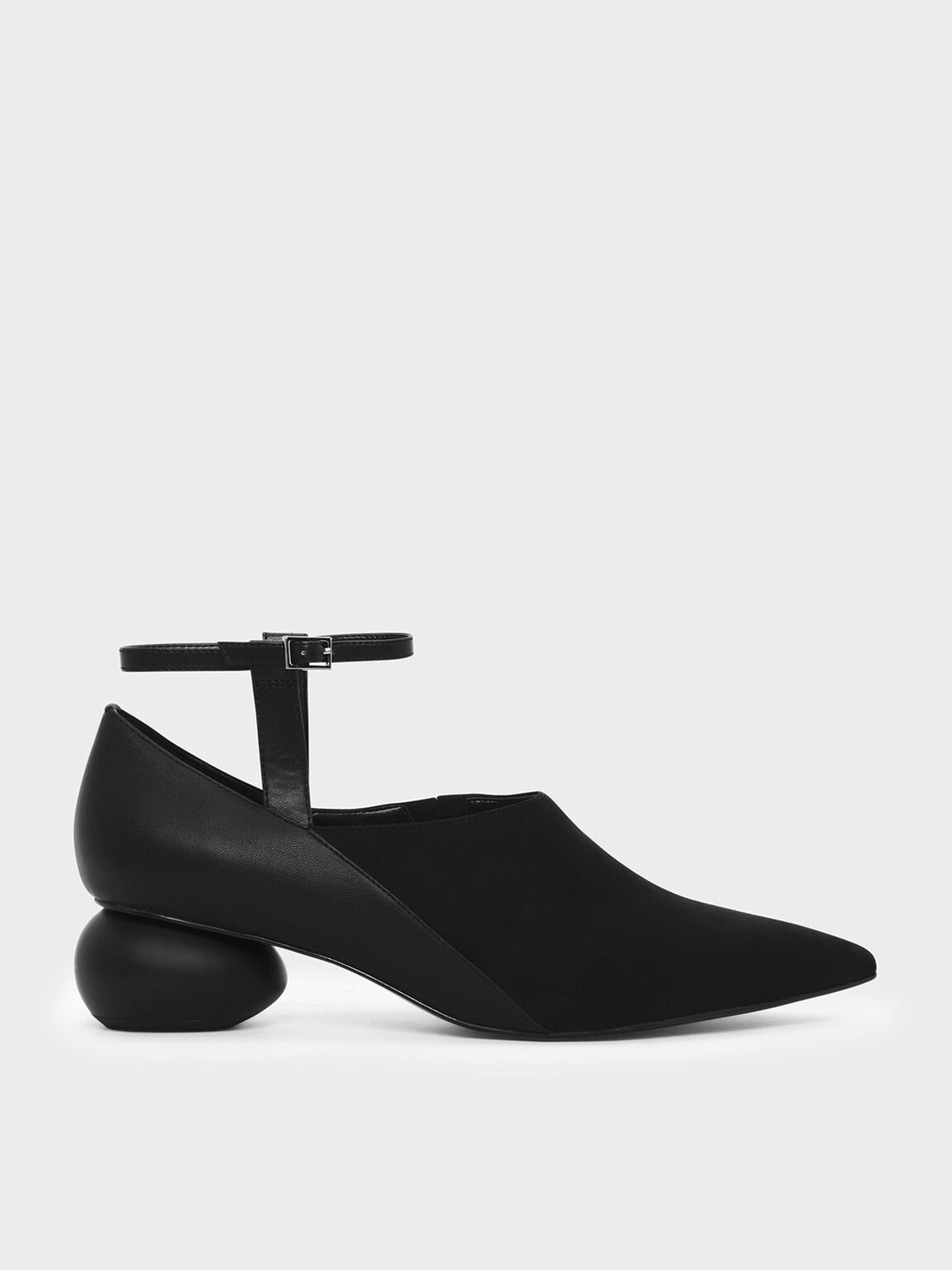 Pebble Heel Ankle Strap Pumps, Black, hi-res