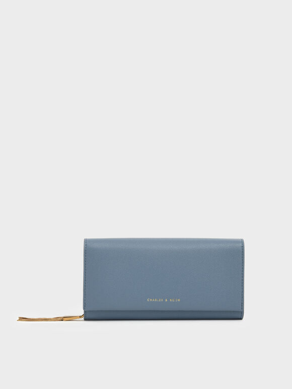 Metal Tassel Classic Long Wallet, Slate Blue, hi-res