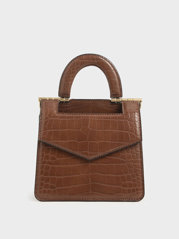 Mini Croc-Effect Envelope Bag, Dark Brown, hi-res