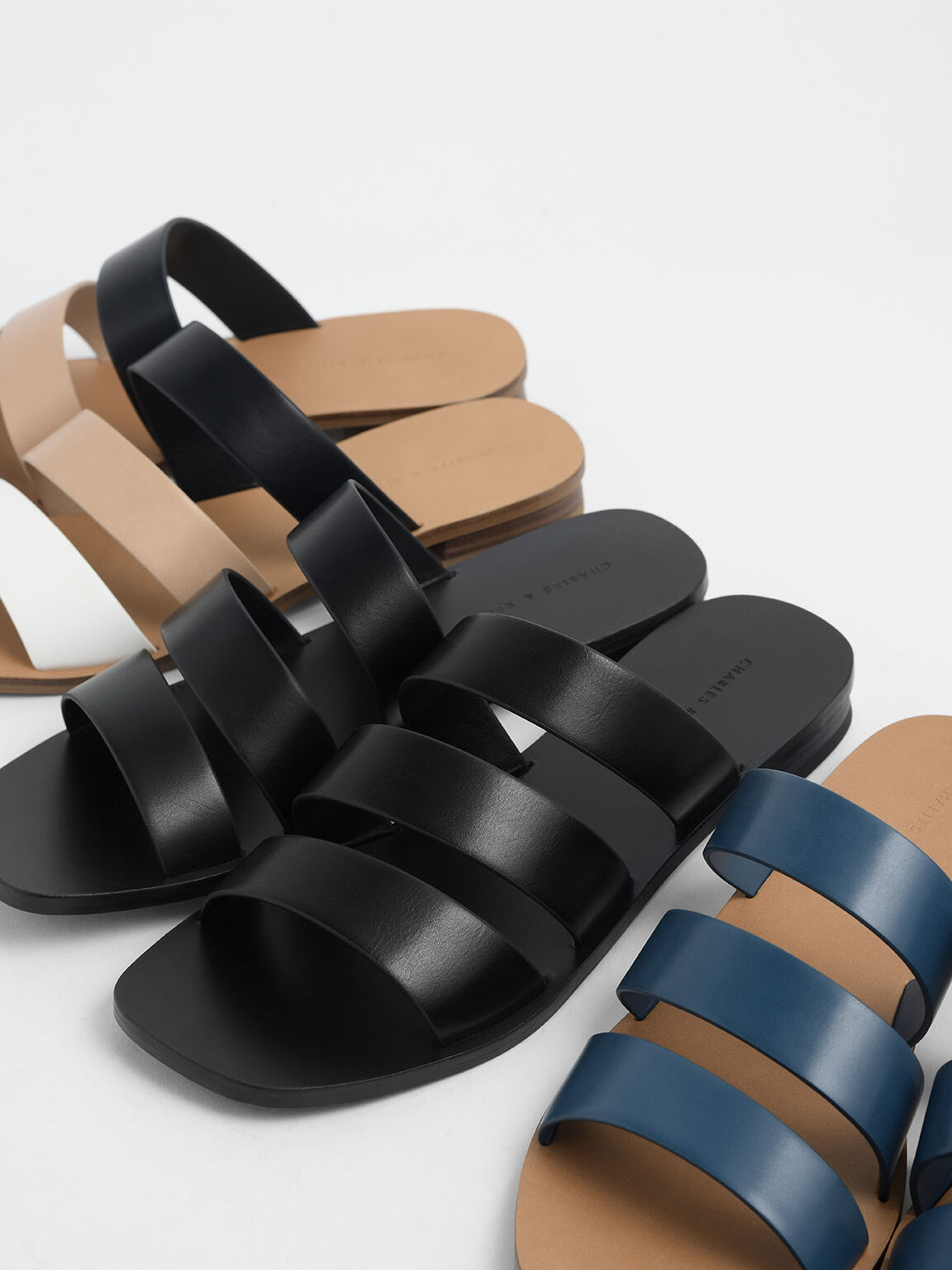 多帶平底拖鞋, 黑色, hi-res