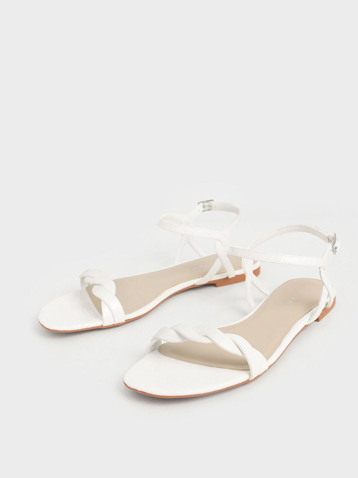 Croc-Effect Twist Strap Flats, White, hi-res