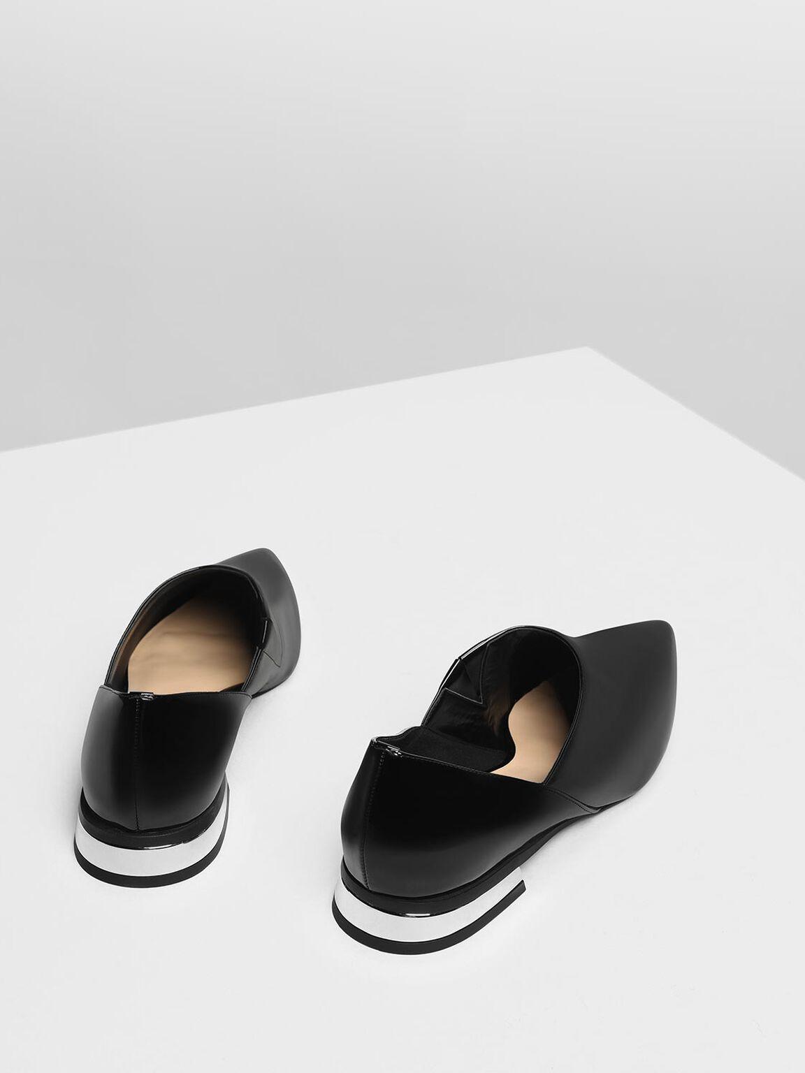 Pointed Toe Slip On Flat Shoes, Black, hi-res