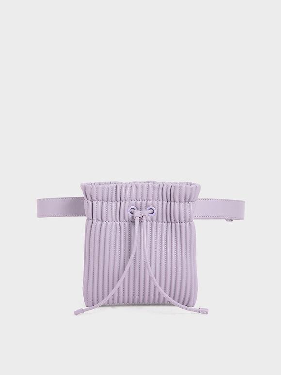 Textured Drawstring Belt Bag, Lilac, hi-res