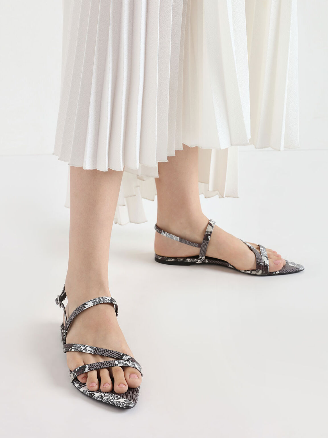 Asymmetric Snake Print Strappy Sandals, Multi, hi-res