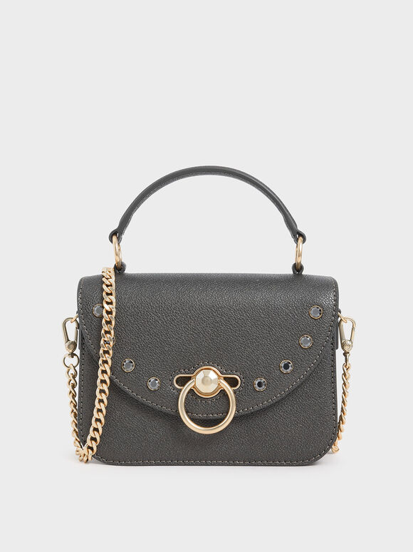 Ring Push Lock Embellished Bag, Pewter, hi-res
