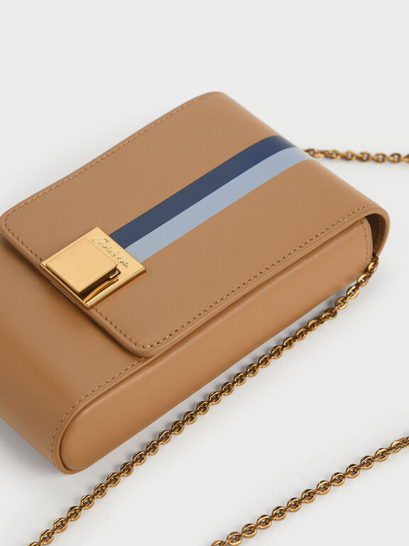 Striped Elongated Leather Crossbody Bag, Caramel
