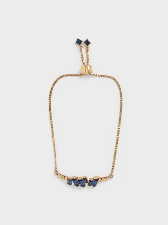 Swarovski® Crystal Embellished Chain Bracelet, Navy, hi-res
