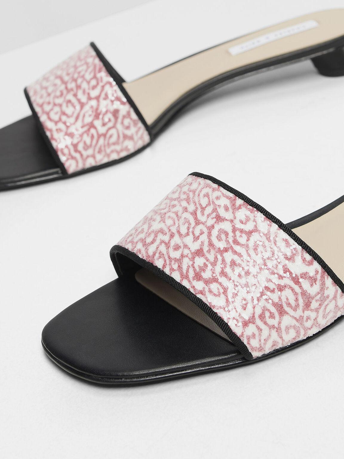 Glitter Heeled Slide Sandals, Red, hi-res