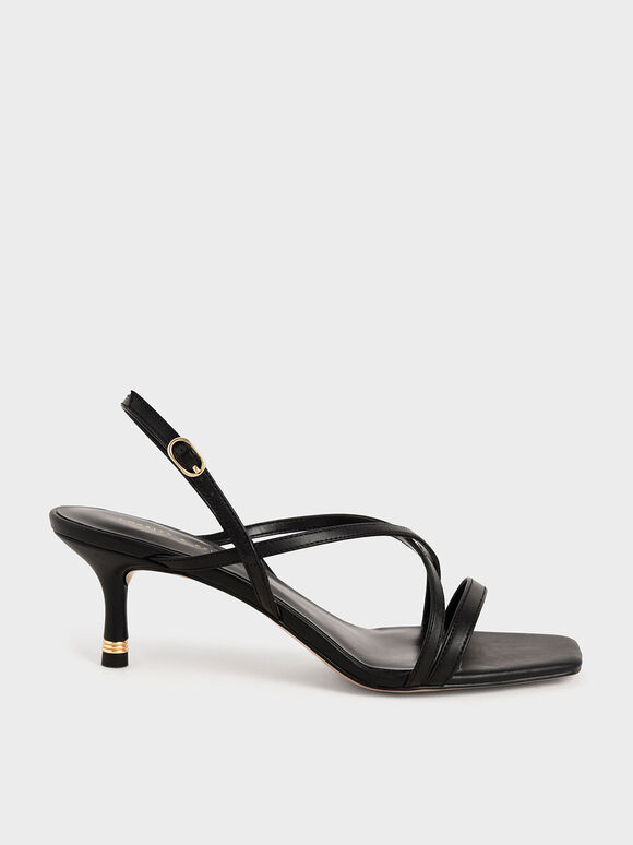 Strappy Slingback Sandals, Black, hi-res