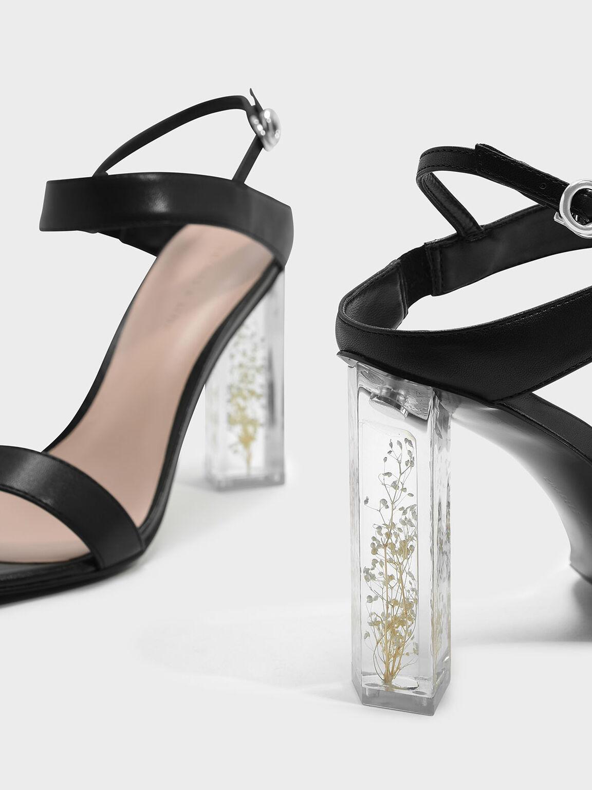 Floral Lucite Heel Sandals, Black, hi-res