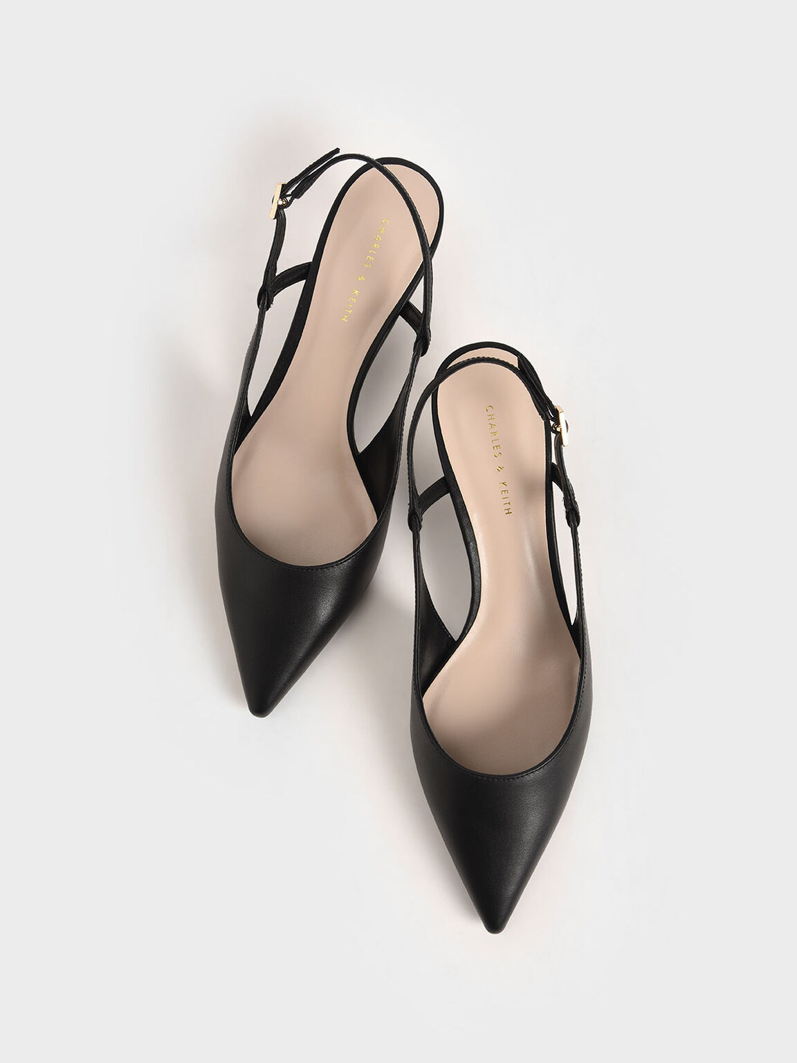 Cut-Out Slingback Kitten Heel Pumps, Black, hi-res