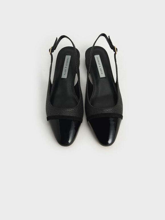 Raffia & Patent Slingback Ballerinas, Black, hi-res