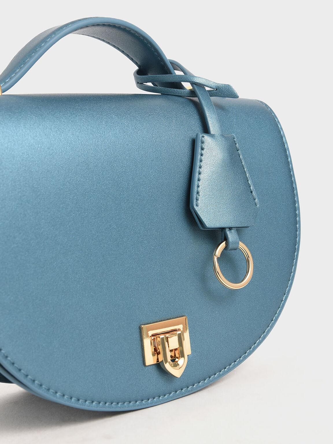 半圓手提包, 藍色, hi-res