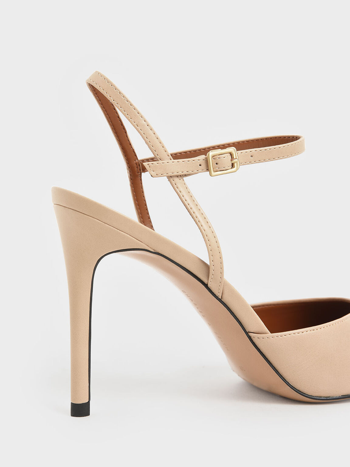 Pointed Toe Ankle Strap Pumps, Beige, hi-res