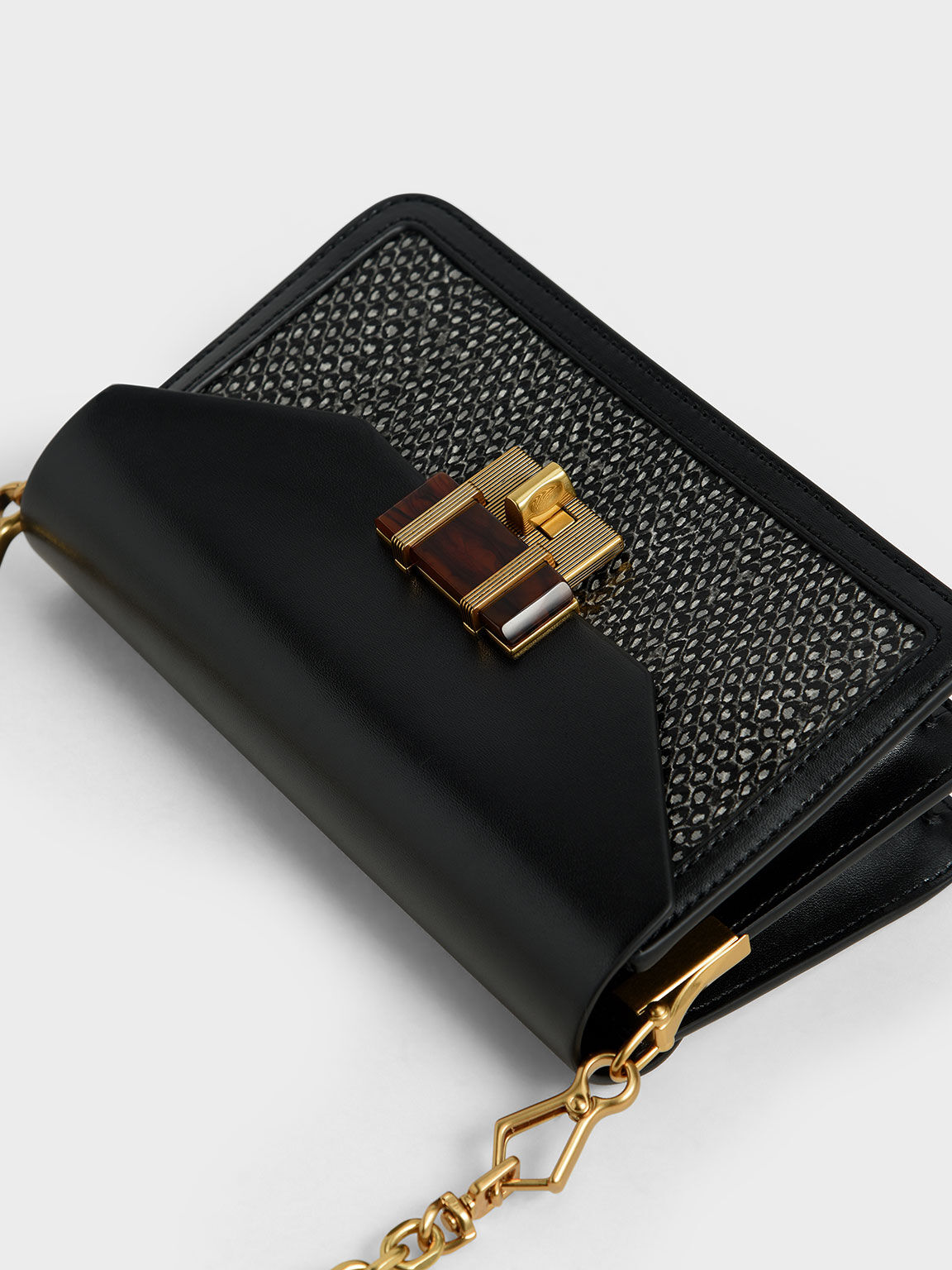 Snake Print Stone-Embellished Crossbody Bag, Multi, hi-res
