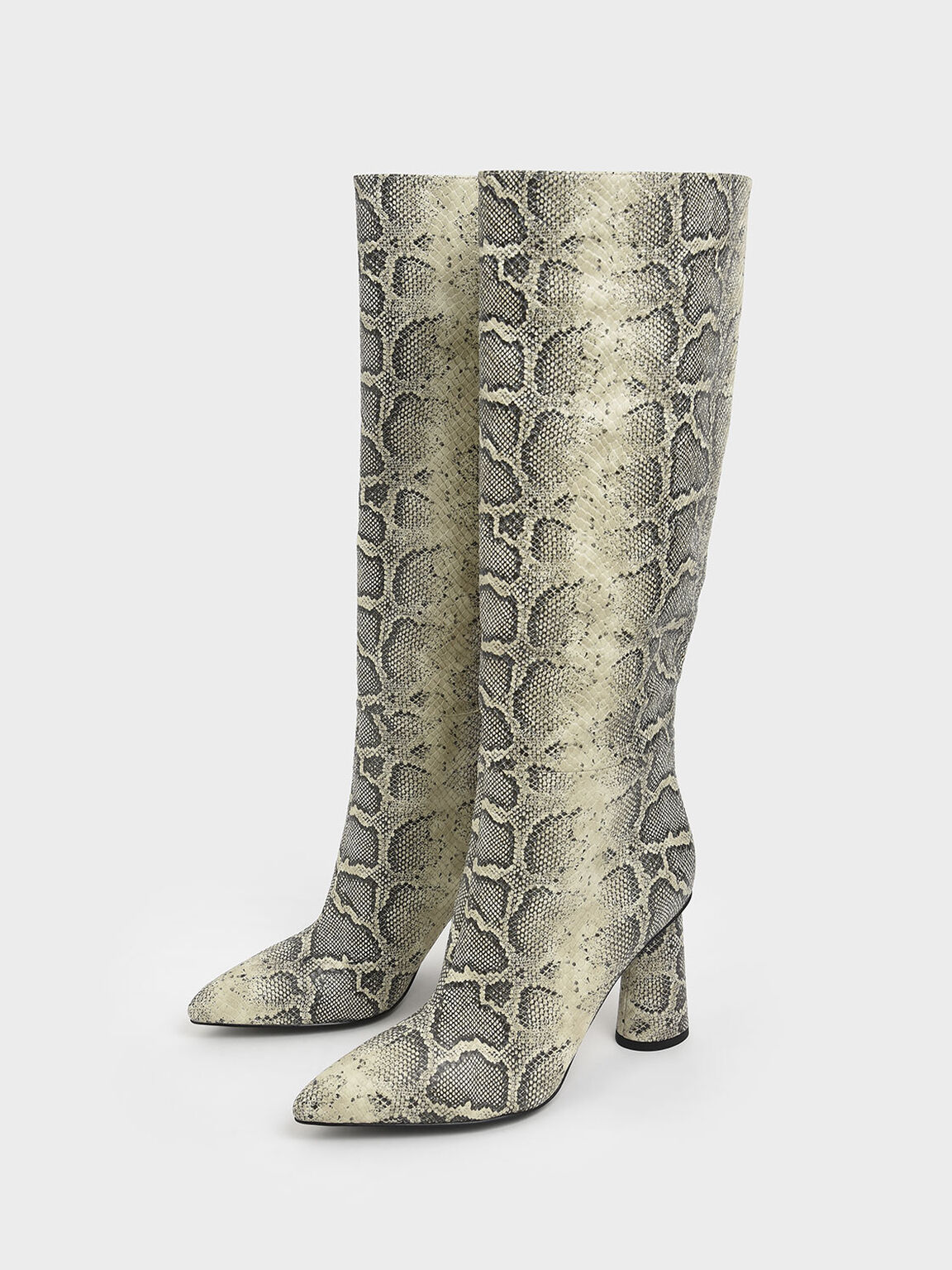 Snake Print Knee High Heeled Boots, Grey, hi-res