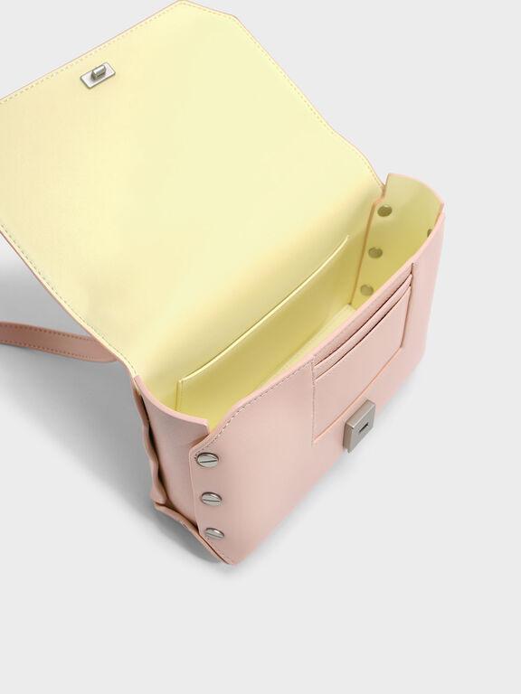 Chain Detail Front Flap Bag, Blush