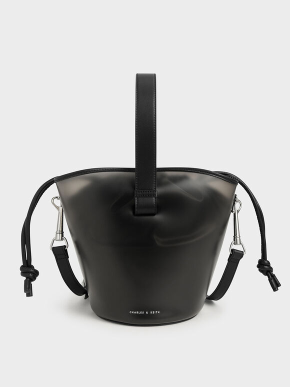 See-Through Effect Bucket Bag, Black, hi-res