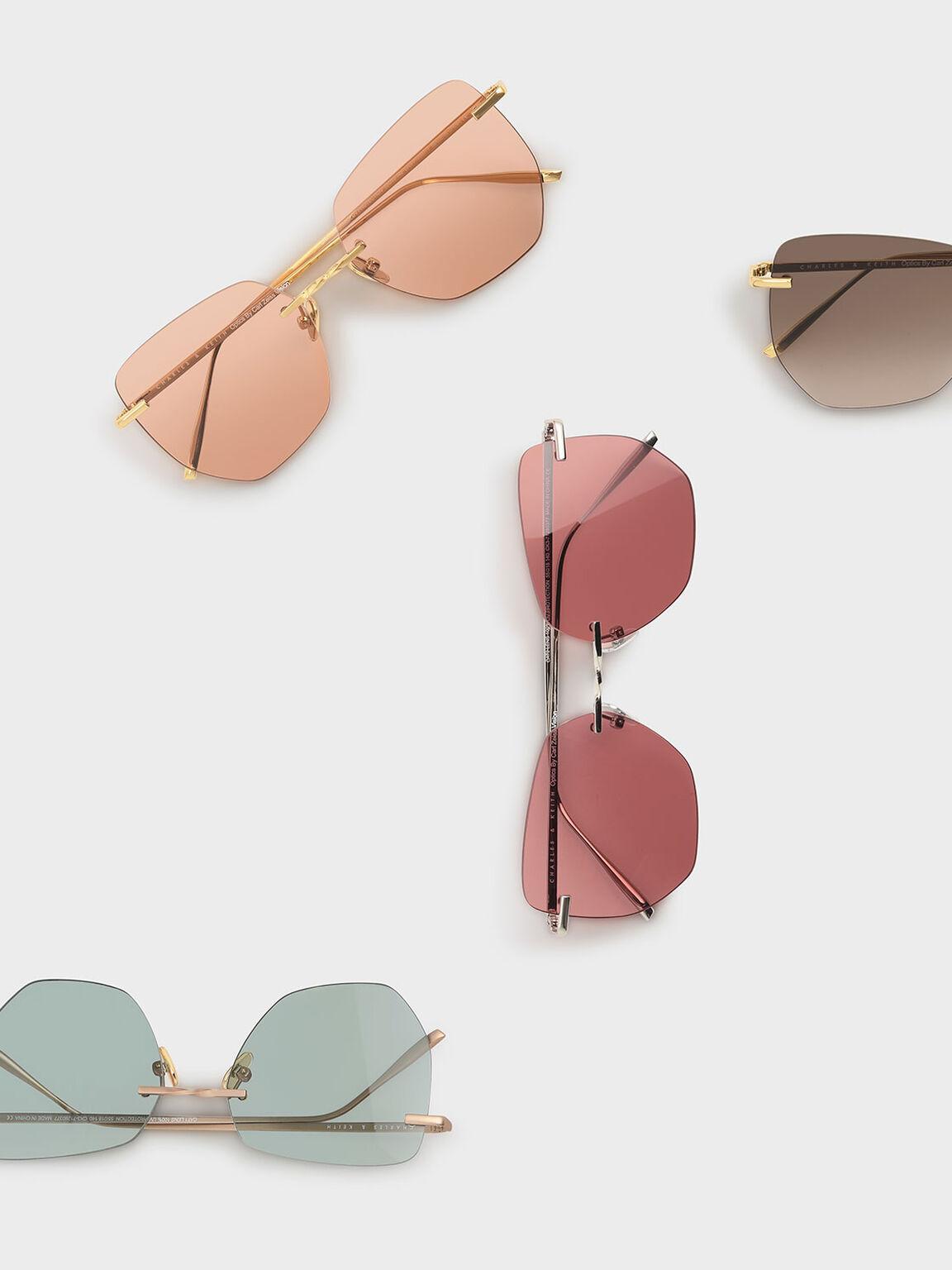 Rimless Geometric Sunglasses, Orange, hi-res