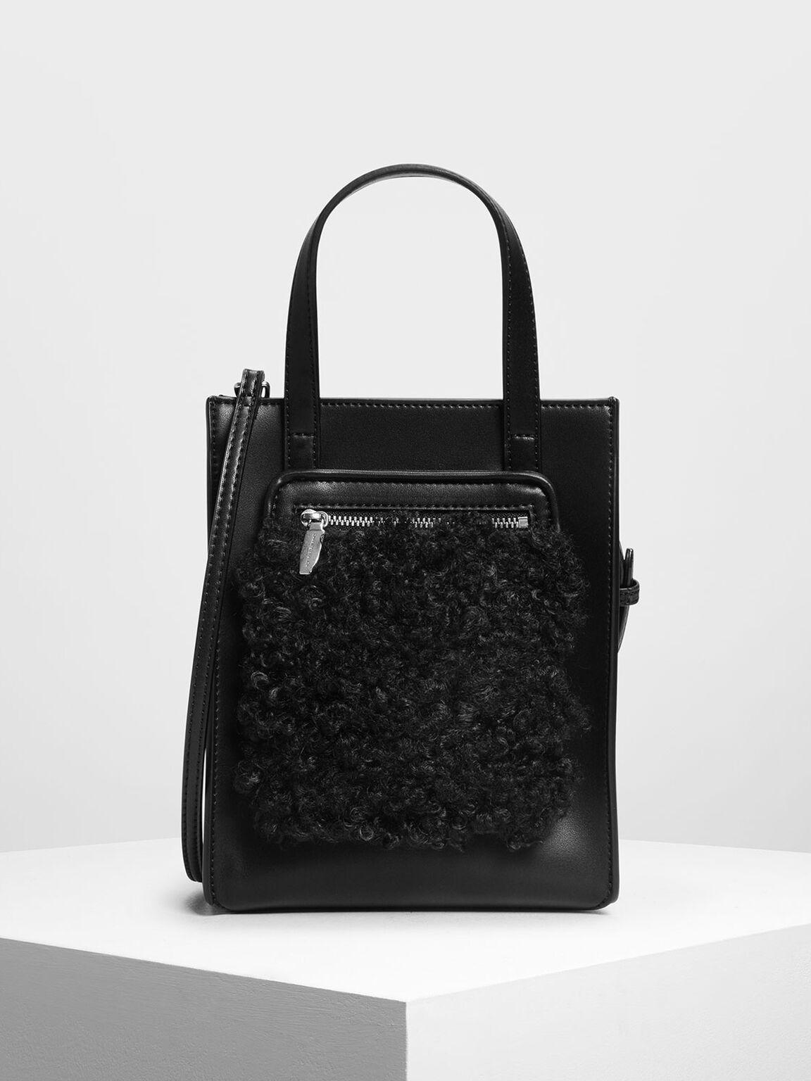 Zipper Compartment Tote Bag, Black, hi-res