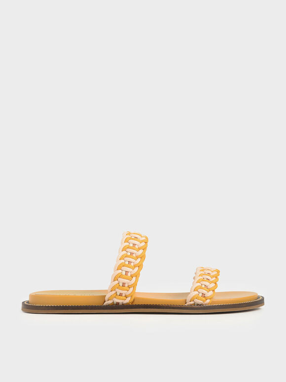 Rope Slide Sandals, Mustard, hi-res